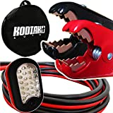 Kodiak Heavy Duty 1 Gauge x 25 Ft Jumper Cables with Bag [Bonus Magnetic LED Flashlight] - Boost from Behind Another