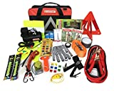 BLIKZONE Auto Roadside Assistance Car Kit Classic 81 Pc for Vehicle Emergency: Portable Air Compressor, Jumper Cables,